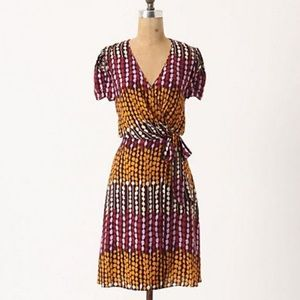Anthropologie X Anna Sui Viviane Purple Wrap Dress